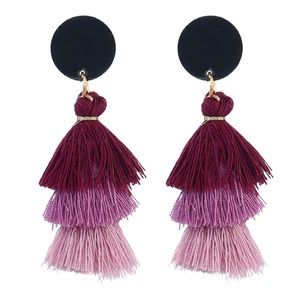 *MAIRE* Purple Tassel Design Fashion Earrings